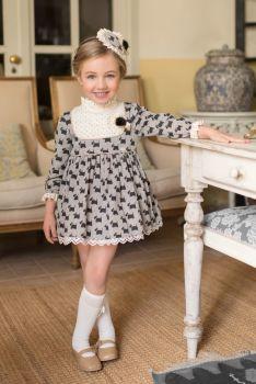 Girls Miranda Black and Cream Dress 232