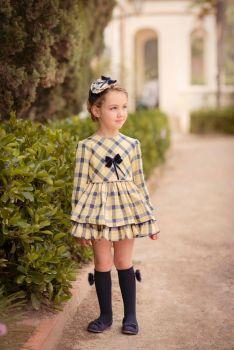 Girls Miranda Yellow and Navy Dress 235