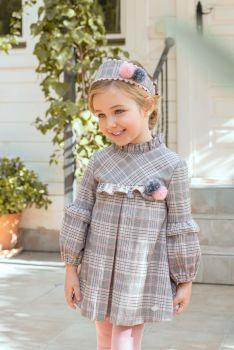 Girls Miranda Pink and Grey Dress 238