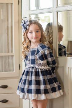 PRE ORDER Girls Miranda Navy and White Dress 256