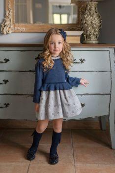 PRE ORDER Girls Miranda Navy and Grey Dress 265