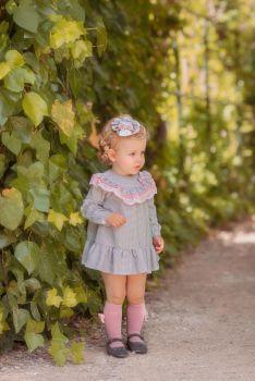 Girls Miranda Grey and Pink Dress 168