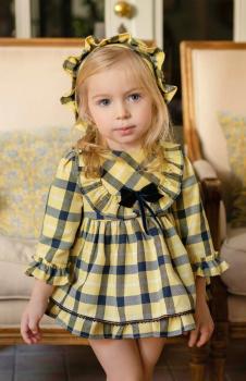 Girls Miranda Yellow and Navy Dress 135