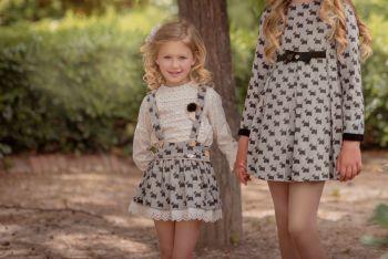 Girls Miranda Black and Cream Skirt Set 233