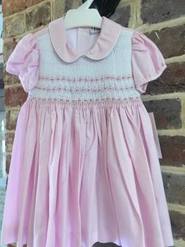 Girls Naxos Hand Smocked Dress 6536 Pink