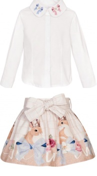 Girls Balloon Chic Bows Skirt and Blouse Set