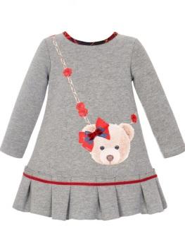 Girls Balloon Chic Grey Teddy Bear Dress 253