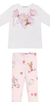 Girls Balloon Chic Pink Teddy Bear Top and Leggings Set 504 352