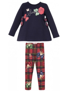 PRE ORDER Girls Balloon Chic Red and Navy Top and Leggings Set