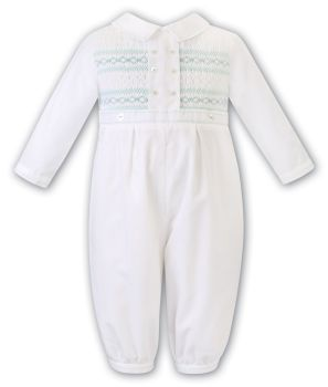 Boys Sarah Louise Romper 012480 Ivory and Mint