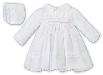 Girls Sarah Louise Dress and Bonnet 012445 White