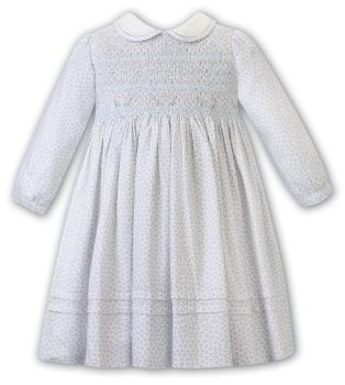 Girls Sarah Louise Dress 012487 Ivory and Blue