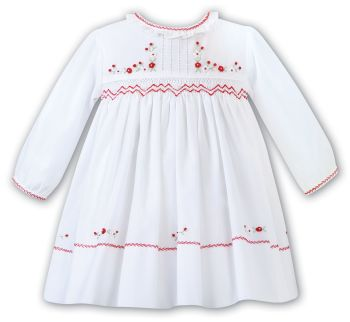 Girls Sarah Louise Dress 012458 White and Red