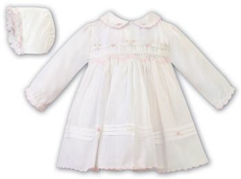 Girls Sarah Louise Dress and Bonnet 012445 Ivory and Pink
