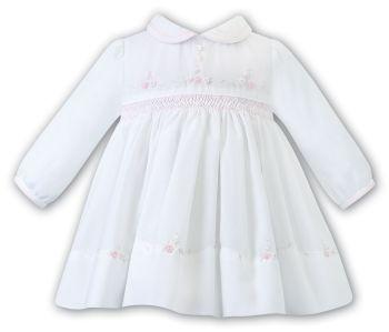 PRE ORDER - Girls Sarah Louise Dress 012450 White and Pink