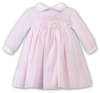 Girls Sarah Louise Dress 012459 Pink and White