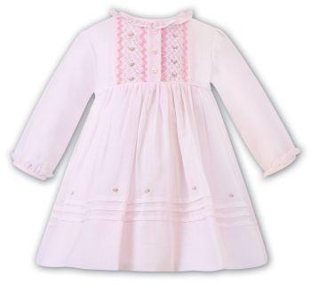 PRE ORDER - Girls Sarah Louise Dress 012464 Pink and White