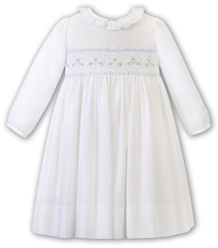 Girls Sarah Louise Dress 012468 Ivory and Blue