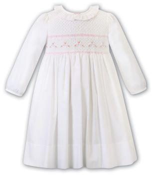 Girls Sarah Louise Dress 012468 White and Pink