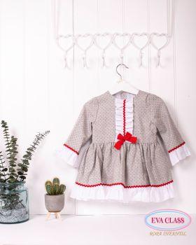 Girls Eva Class Grey, Red and White Dress 12401