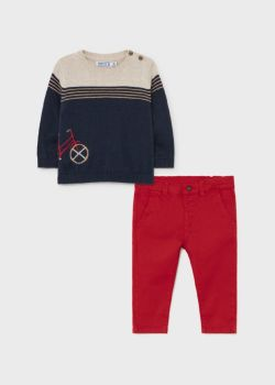 Boys Mayoral Sweater and Trousers Set 2538 Red 91