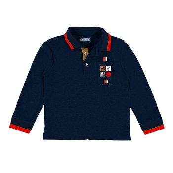 Boys Mayoral Long Sleeve Polo 4160 Navy 55