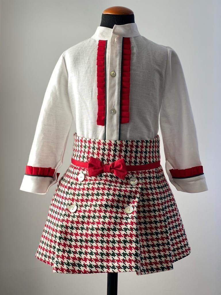 Girls Cuka Red, White and Green Dress Skirt Set 21993
