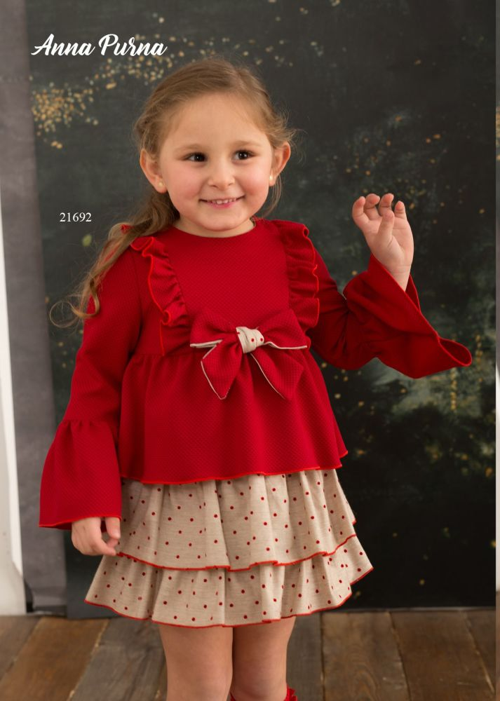 Girls Cuka Red and Beige Dress 21692