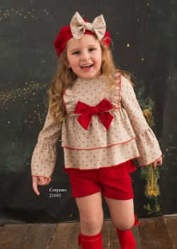 Girls Cuka Red and Beige Shorts Set 21693