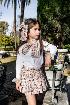 Girls Naxos Gold and White Top and Skirt Set 6866 6841