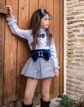 Girls Naxos Navy and White Top and Skirt Set 6864 6839