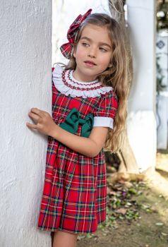 Girls Naxos Red Tartan Dress with Smocked Collar 6827