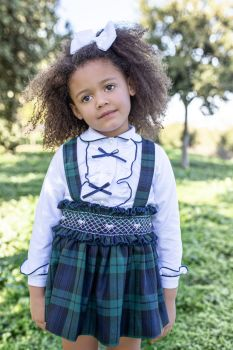 Girls Naxos Navy and Green Top and Skirt Set 6821