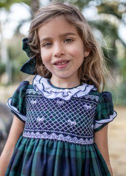 Girls Naxos Smocked Dress - Navy and Green Tartan