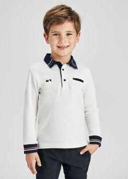 Boys Mayoral Long Sleeve Polo 4161 Cream 59