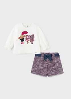 Girls Mayoral Top and Shorts Set 2226 Raspberry 3