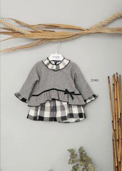 Girls Basmarti Grey and White Dress 21801
