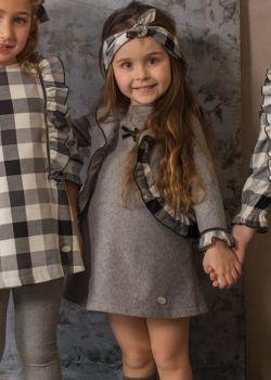 Girls Basmarti Grey and White Dress 21814