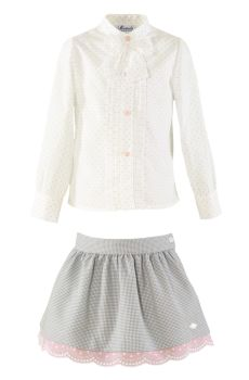 Girls Miranda Grey and Pink Skirt Set 267