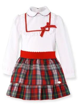 Girls Miranda Red and Grey Tartan Skirt Set 251