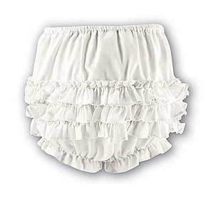 Sarah Louise Girls Frilly Pants - Ivory 760