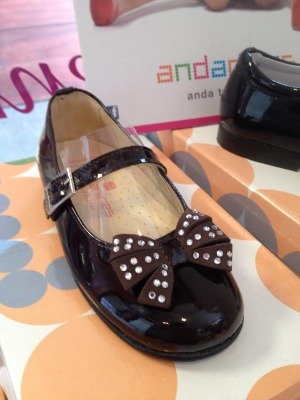 Girls Andanines Brown Patent Shoes