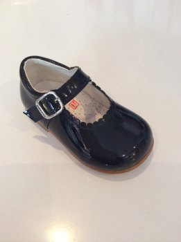 Girls Andanines Navy Patent Mary Jane Shoes