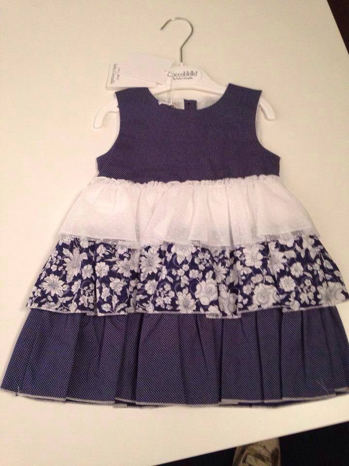 Girls Coccobirillo by Baby Graziella Navy and White Dress