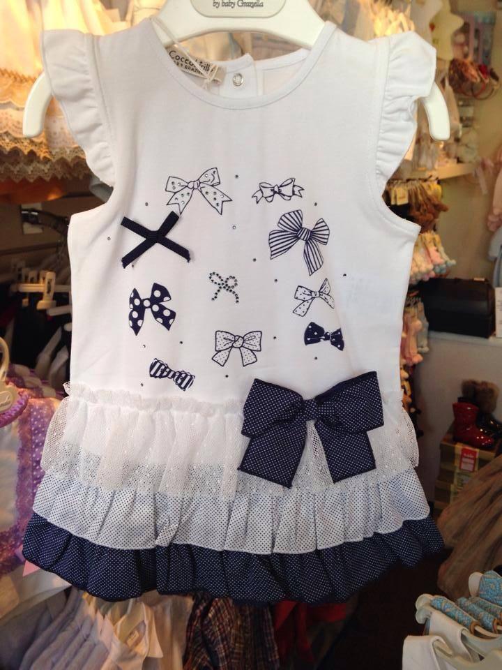Girls Coccobirillo by Baby Graziella Navy and White Dress
