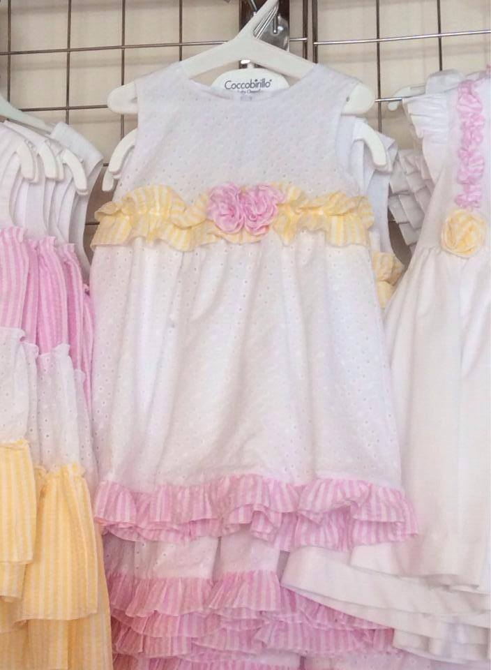 Girls Coccobirillo by Baby Graziella Pink, Yellow and White Dress