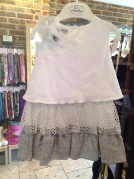 CLEARANCE PRICE Girls Baby Graziella Silver and White Dress