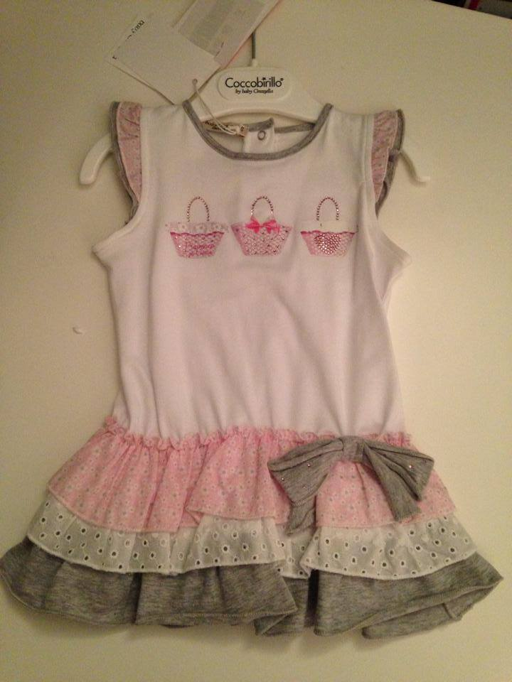 Girls Coccobirillo by Baby Graziella White, Pink and Silver Dress