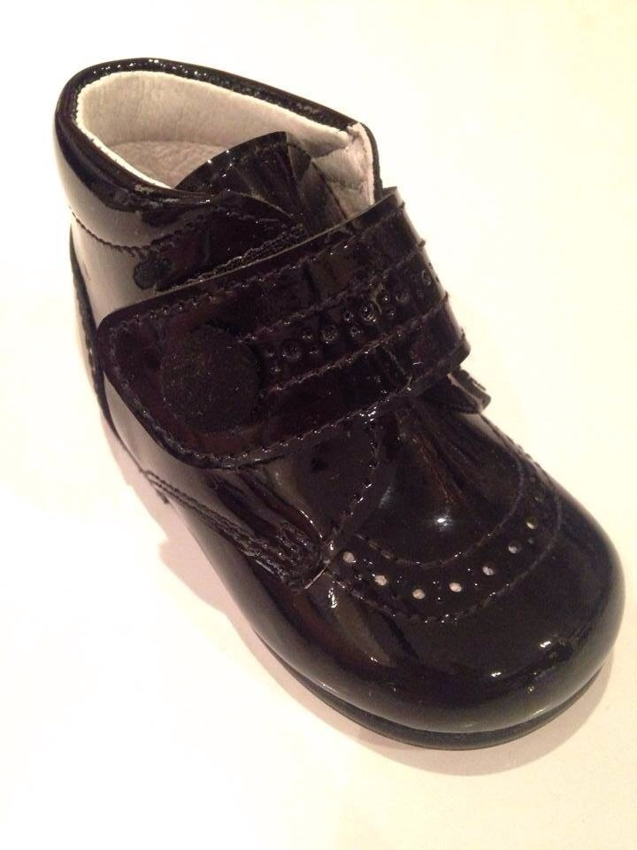 Boys Andanines Black Patent Boots