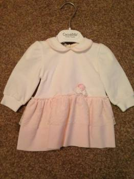 CLEARANCE PRICE Girls Coccobirillo by Baby Graziella Cream and Pink Dress